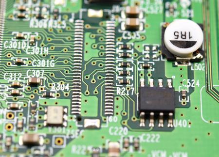 Green electronic circuits Stock Photo