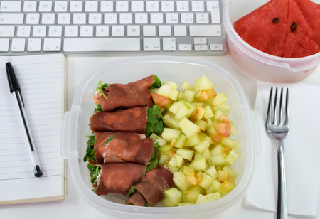 Homemade lunch at work (office): ham roll with bell pepper salad and watermelon.