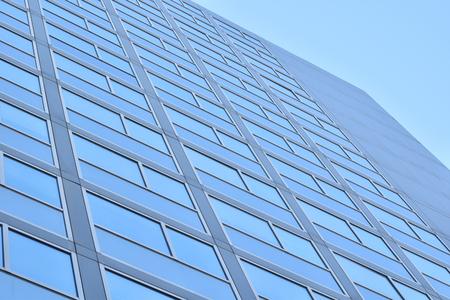 A sky-blue skyscraper