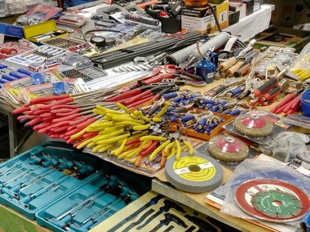 TURIN, ITALY, CIRCA FEBRUARY 2018: many mechanic colorful work tools to repair a car in a market stand. Hdr effect.