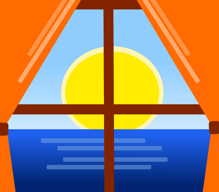 A window with orange curtains on sea and sun.
