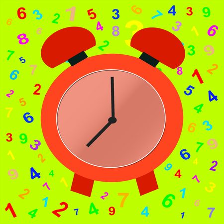 Eight oclock: a red clock on numbers and colorful background.