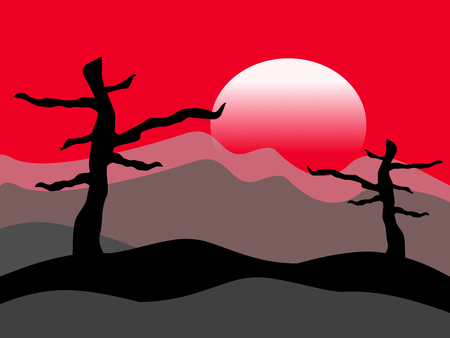 a desolate landscape at sunset, with red sky and black trees