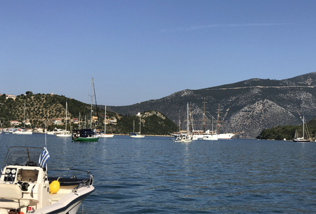 Boats in the gulf of Vathy or Ithaki, the main town of Ithaka or Ithaca in Greece