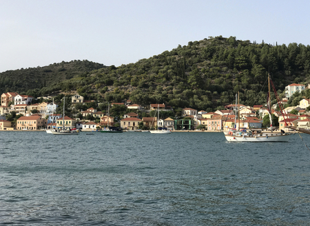 View of Vathy or Ithaki, the main town of Ithaka or Ithaca in Greece Stock Photo