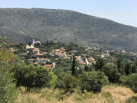 A town in the Countryside of Ithaka or Ithaca island in Greece.