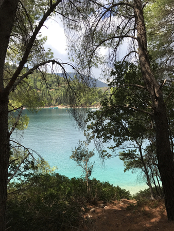 Turquoise sea between green plants in a bay in Ithaka or Ithaca, Greece.