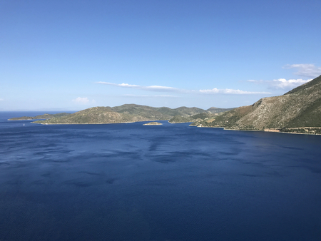 Aerial view of Ithaka or Ithaca island in Greece Stock Photo