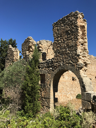Ruins of the Venetian castle of Assos in Cephalonia or Kefalonia, Greece