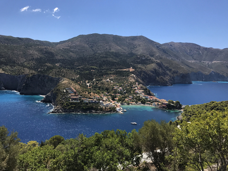A view of Assos village on its bay in Cephalonia or Kefalonia, Greece Stock Photo