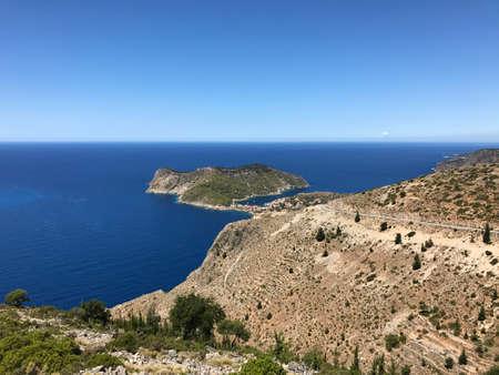 The peninsula of Assos in Cephalonia or Kefalonia, Greece. Stock Photo