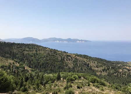 The green nature in Cephalonia or Kefalonia coast in Greece. Stock Photo
