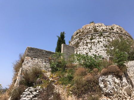 The ancient Kastro, a Venetian castle, in Cephalonia or Kefalonia in Greece