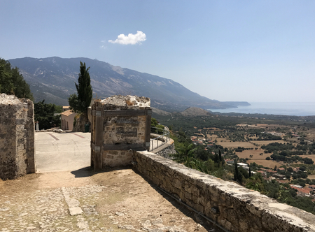 The main entrance of ancient Kastro, a Venetian castle, in Cephalonia or Kefalonia in Greece Stock Photo