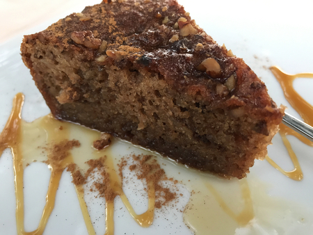 A Greek cake with walnuts and caramel. Stock Photo