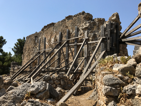 The ancient ruins of Saint Fanentes Monastery in Kefalonia in Greece.