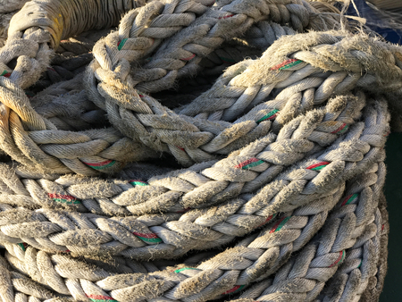 Close up of a crowded straw rope. Suitable to be used like a background. Stock Photo