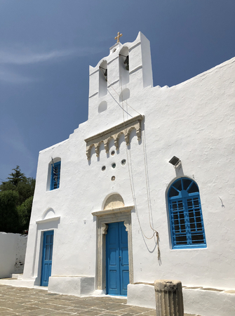 A white and blue church of Apollonia in Sifnos island in Greece. Stock Photo
