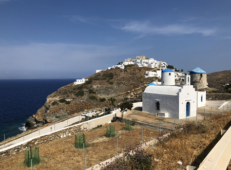 A view of Kastro village in Sifnos island, Greece. Stock Photo