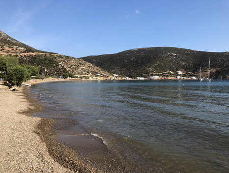 Vathy beach and bay, in Sifnos island in Greece.