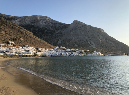 Kamares village at sunset, in Sifnos island in Greece.