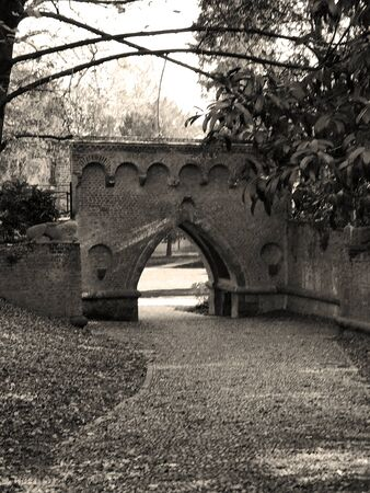 The ancient walls of the Monza Park in Italy. Sepia effect.
