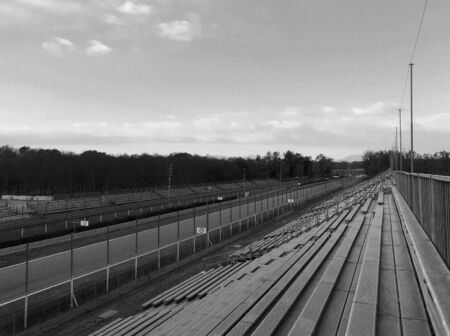 Autodromo Nazionale Monza or Monza National Racetrack in Italy the third more older in the world, built in 1922. Black and white.