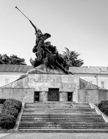 The monument to the fallen of the First World War in Trento and Trieste Square in Monza, Italy. Black and white. Stock fotó