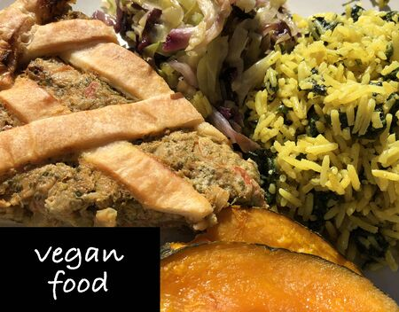 Colorful vegan food with written.