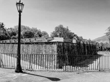 The ancient citadel of Pamplona, Spain. Black and white. Stock fotó