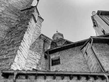 The cathedral of Pamplona, Spain. Black and white.