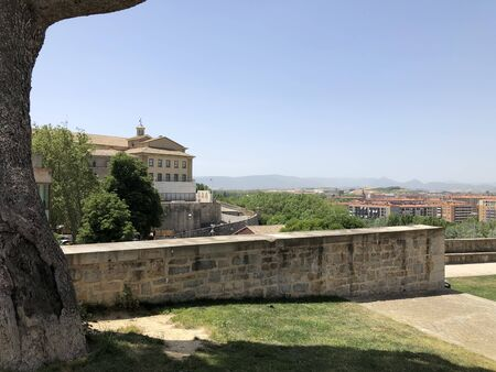 A view of Pamplona, Spain, in a sunny day with blue sky.