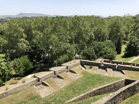 Park of the Tejería and the ancient wall of Pamplona in Spain