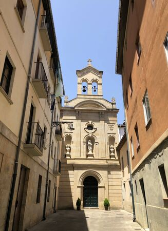 An ancient church in a alley in the historical center of Pamplona, Spain Stock fotó