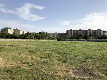 The park of the ancient citadel of Pamplona, Spain, in a sunny day Stock fotó