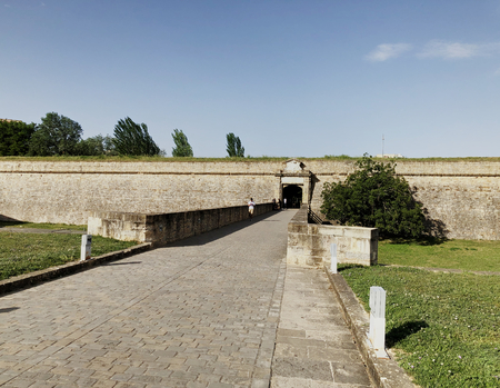The main entrance of the ancient citadel of Pamplona, Spain, in a sunny day Sajtókép