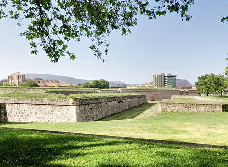 The ancient citadel of Pamplona, Spain, in a sunny day