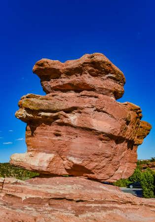 Eroded red-sandstone formations. Garden of the Gods, Colorado Springs, Colorado, USA