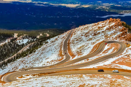 Winding road, serpentine in the mountains up to the Pikes Peak Mountain, Colorado, USA