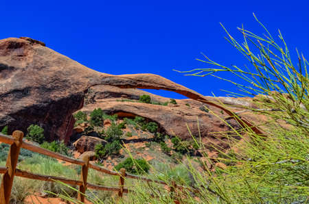 Landscape Arch is one of the major arches on the Devils Garden trail. Arches National Park in Moab, Utah