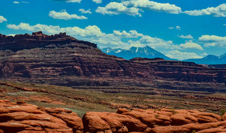 Layered geological formations of red rocks in Canyonlands National Park is in Utah near Moab. USA Zdjęcie Seryjne