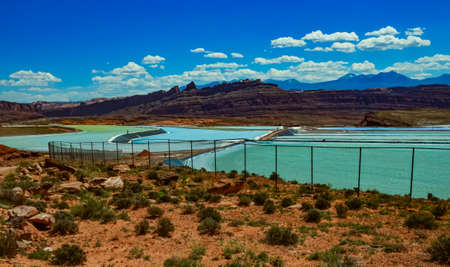 Evaporation of salt from water for industrial purposes. Canyonlands NP is in Utah near Moab, USA 스톡 콘텐츠