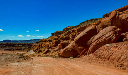 Layered geological formations of red rocks in Canyonlands National Park is in Utah near Moab. USA 스톡 콘텐츠