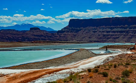 Evaporation of salt from water for industrial purposes. Canyonlands NP is in Utah near Moab, USA Zdjęcie Seryjne