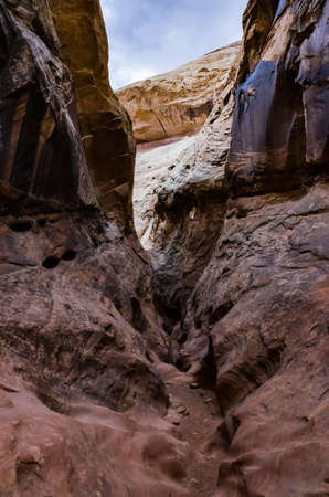 Eroded by water and wind cliffs in the canyon. Little Wild Horse Canyon. San Rafael Swell, Utah USA