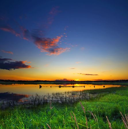 beautiful lake on sunset Stock Photo - 3606324