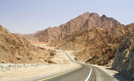 al: road in desert Rub al Khali, UAE Stock Photo