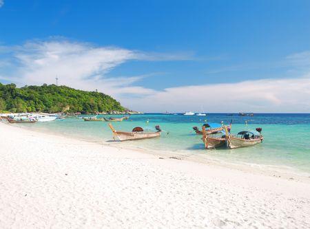 mountin: Beautiful beach and sea with longtail boat on Koh Lipe, Andaman Sea,Thailand