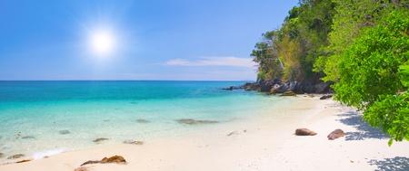 pano: beautiful beach with white sand on koh Ngai, Thailand Stock Photo