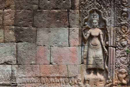 detail of stone carvings in angkor wat,cambodia.  photo